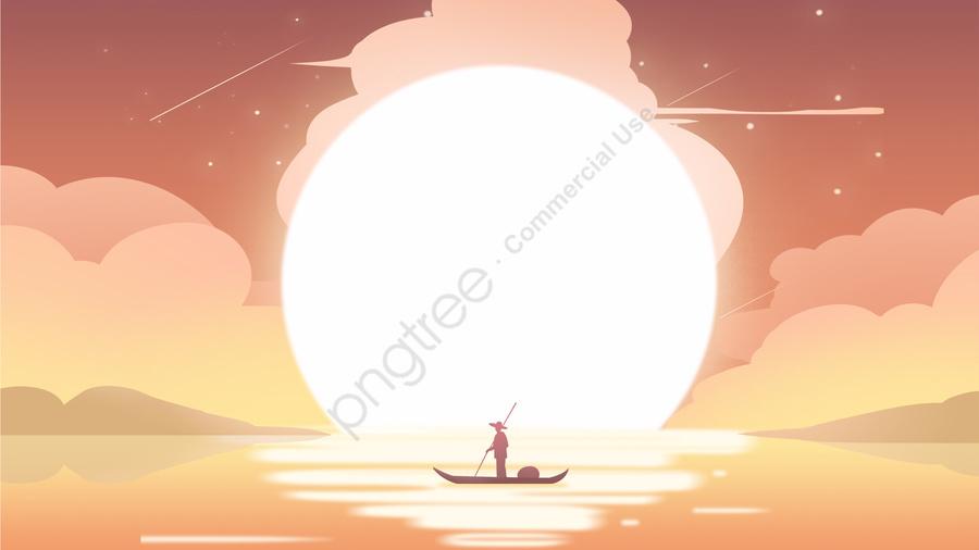 夕焼け雲空漁師, 日没, クラウド, 空 llustration image