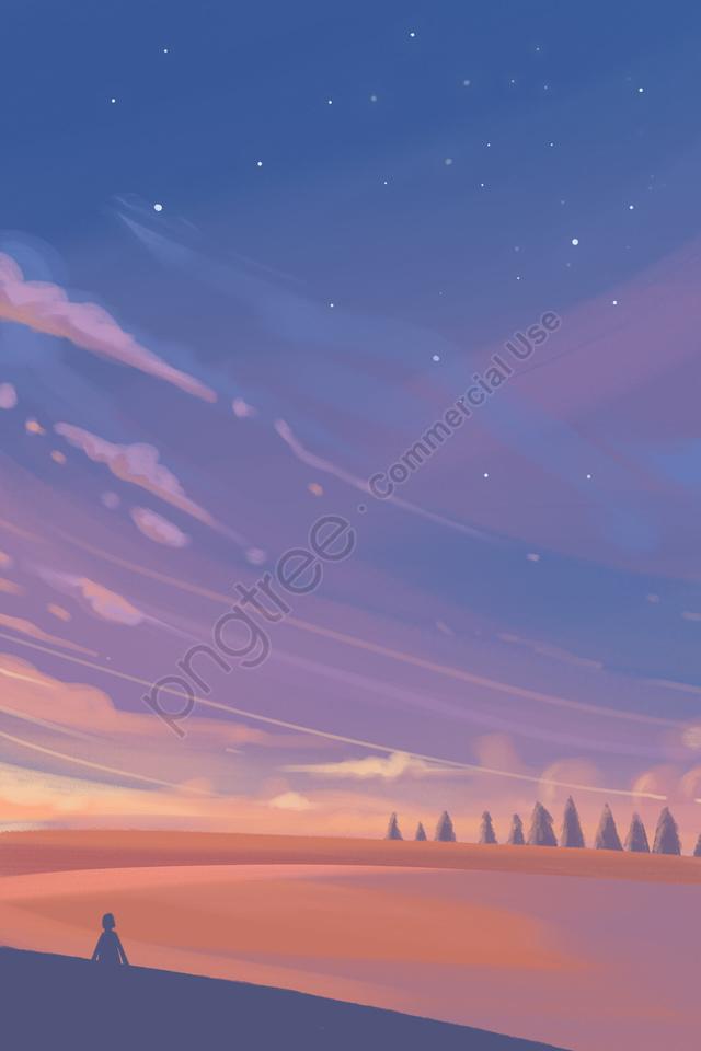 Bintang Langit Awan Matahari Terbenam, Matahari Terbenam, Awan, Langit llustration image