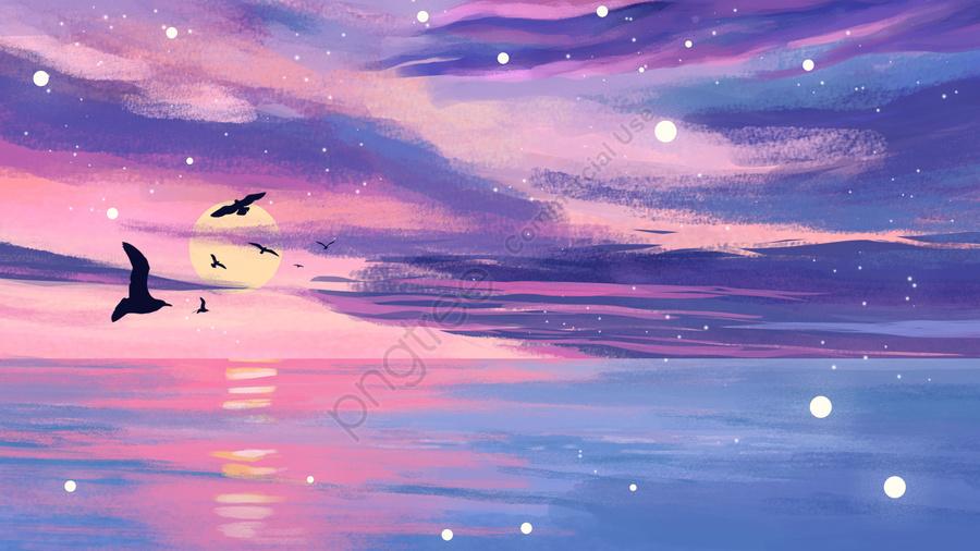 الغروب، المحيط، المحيط, حلم, النورس, توهج الغروب llustration image