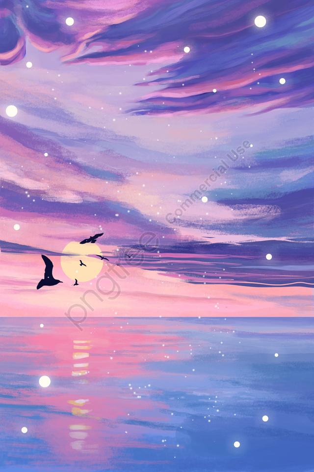 Hoàng Hôn Bầu Trời Biển, Mơ Tưởng, Mòng Biển, ánh Sáng Hoàng Hôn llustration image