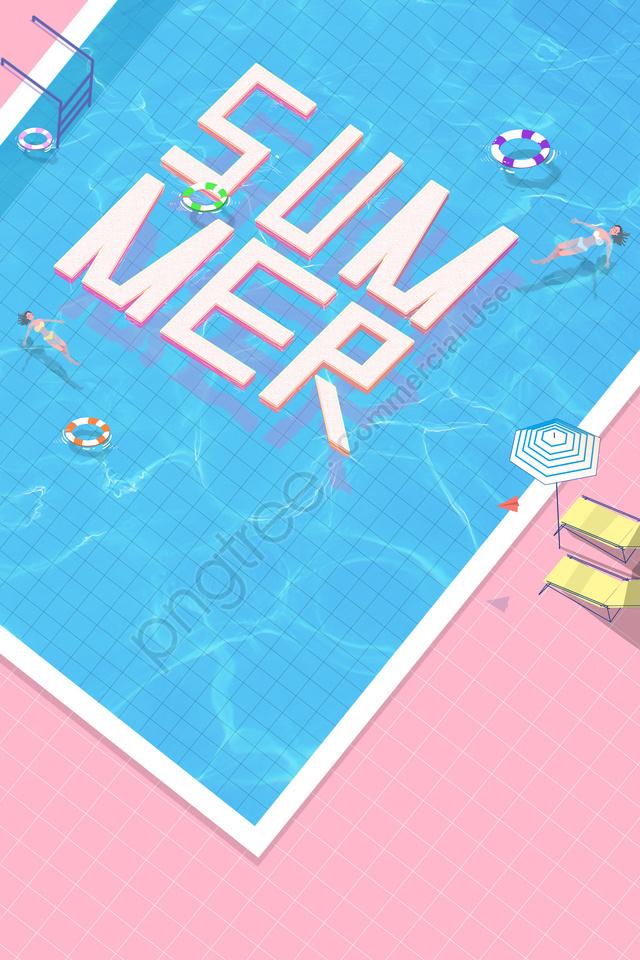 swimming pool business poster clean and refreshing pink, Vòng Bơi, Ngửa, Mô Hình Nước llustration image
