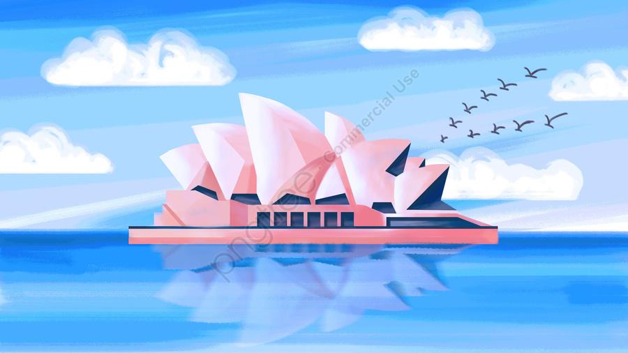 Sydney Landmark Sydney Opera House Hand Painted Texture, Texture, Building, Illustration llustration image