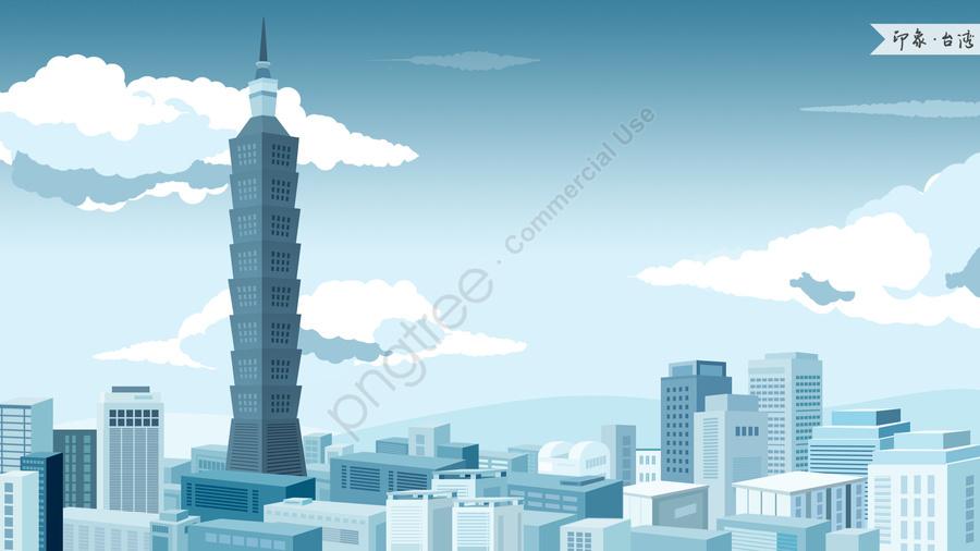 taiwan 101 building impression landmark building, Landmarks, City Illustration, Skyline llustration image