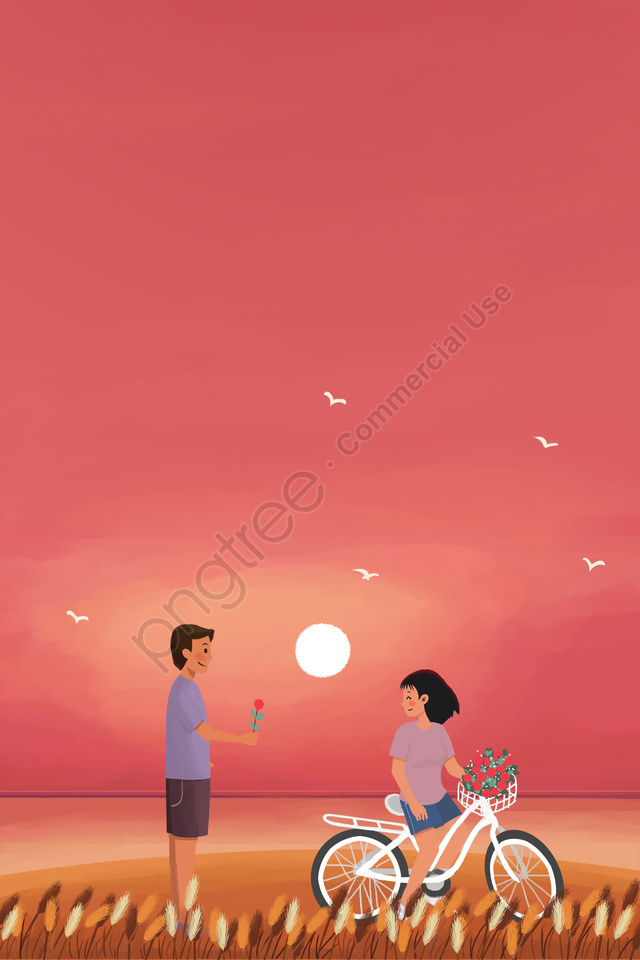 tanabata couple romantic appointment, Sunset, Sun, Pink llustration image