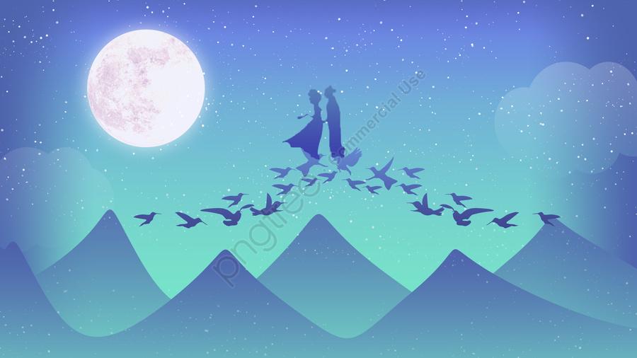 七夕羊飼いウィーバーブリッジ, 会, ブライトムーン, 7月7日 llustration image