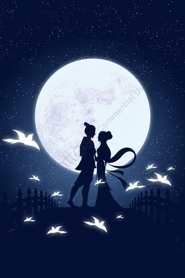 Ilustração Do Tecelão Do Vaqueiro Do Tanabata, Gradiente Micro, Ponte, Magpie llustration image