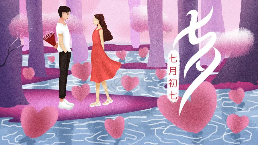 Tanabata節日浪漫粉紅色, 紫色, 夫婦, 愛 llustration image