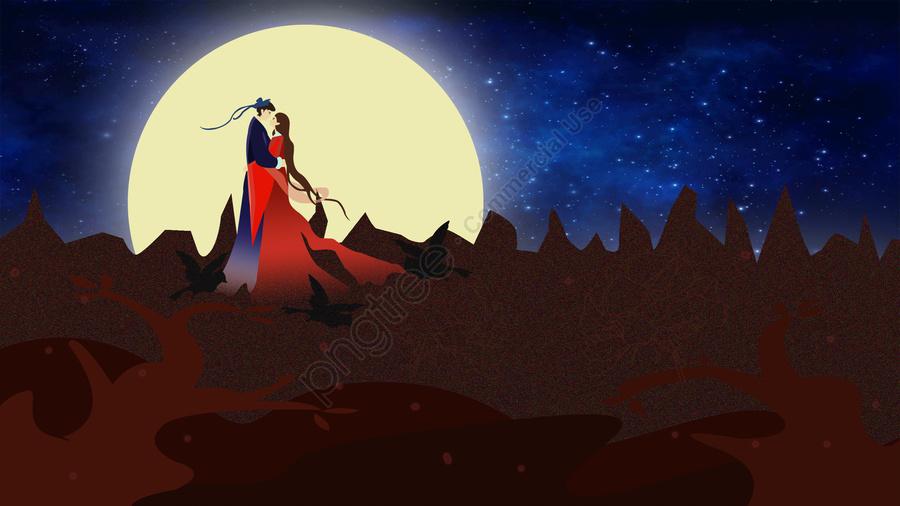 Tanabata Noite Romântico Amor, Menina, Reúne, Illustrator llustration image