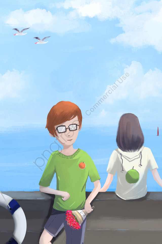 Tanabata海邊夏季吹風機, 厚塗層, 夏天, 夫婦 llustration image