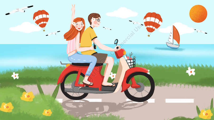tanabata valentines day couple cycling couple, Romantic, Appointment, Hot Air Balloon llustration image