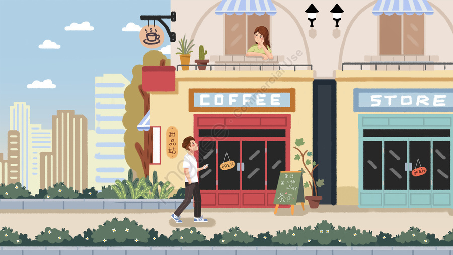 tanabata valentines day couple romantic, Appointment, Coffee Shop, Boy llustration image