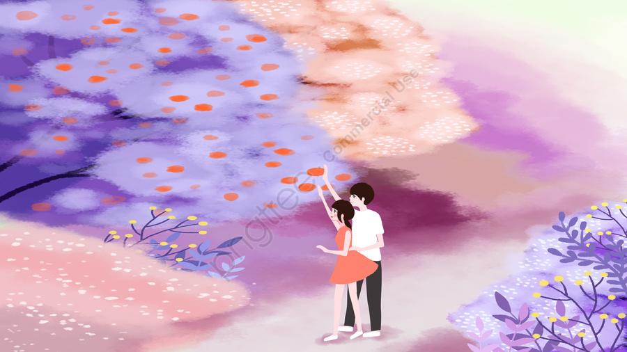 Tanabata Valentines Day Forest Couple, Illustration, Beautiful, Landscape llustration image