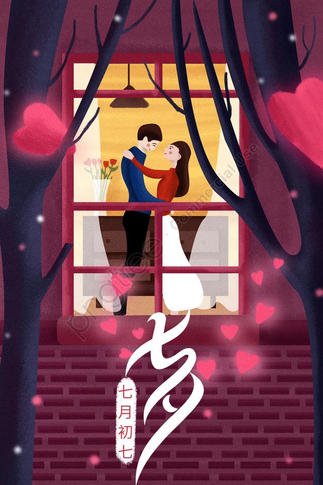 Tanabata情人節例證浪漫, 夫婦, 房間, 家庭 llustration image