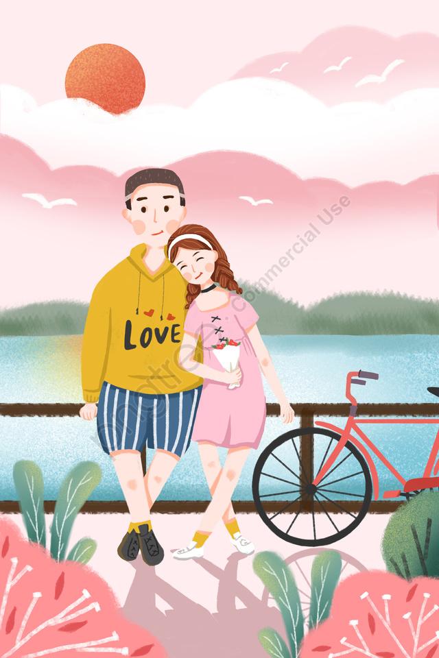 七夕バレンタインデーロマンチックなデートカップル, 人物, 自転車, 植物 llustration image