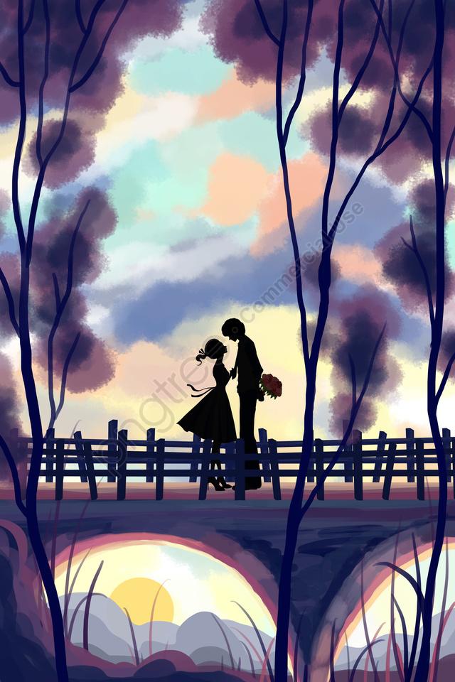 七夕バレンタインデーツリーカップル, イラスト, 美しい, ラバー llustration image