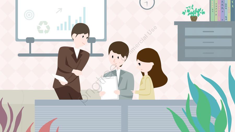 Escritório De Negócios De Cooperação De Equipe, Pessoal, Pintado A Mão, Ilustração llustration image
