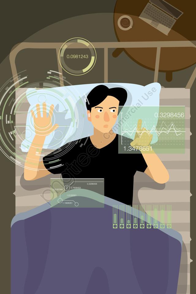 技術人工知能タッチスクリーン電子, ベッドルーム, オフィス, ホワイトカラー llustration image