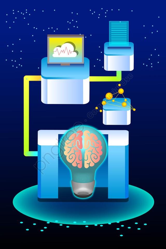 технология мозга умный фон, пример, звездное небо, синий llustration image