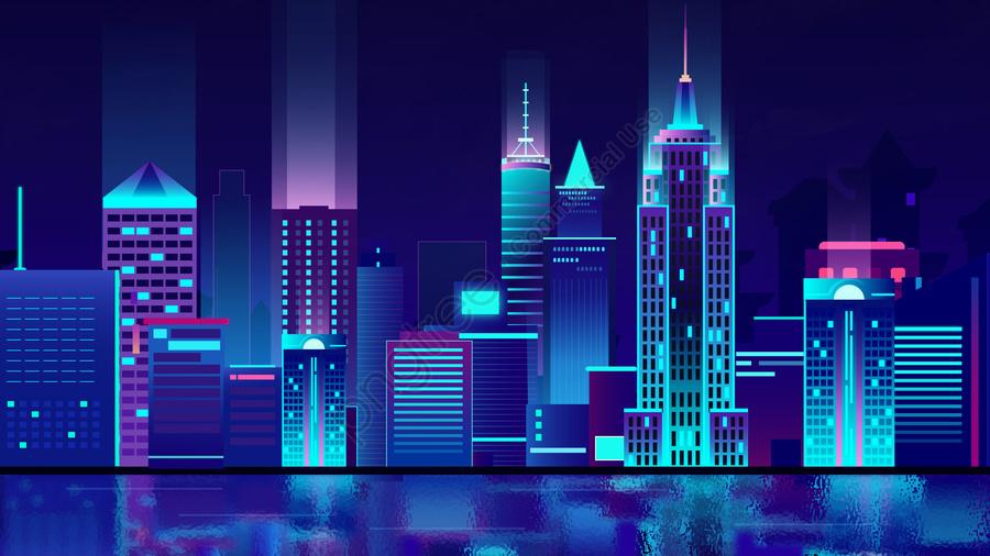 प्रौद्योगिकी शहर स्टीरियो चित्रण उच्च इमारत, इमारत, परिदृश्य, बुद्धिमान llustration image