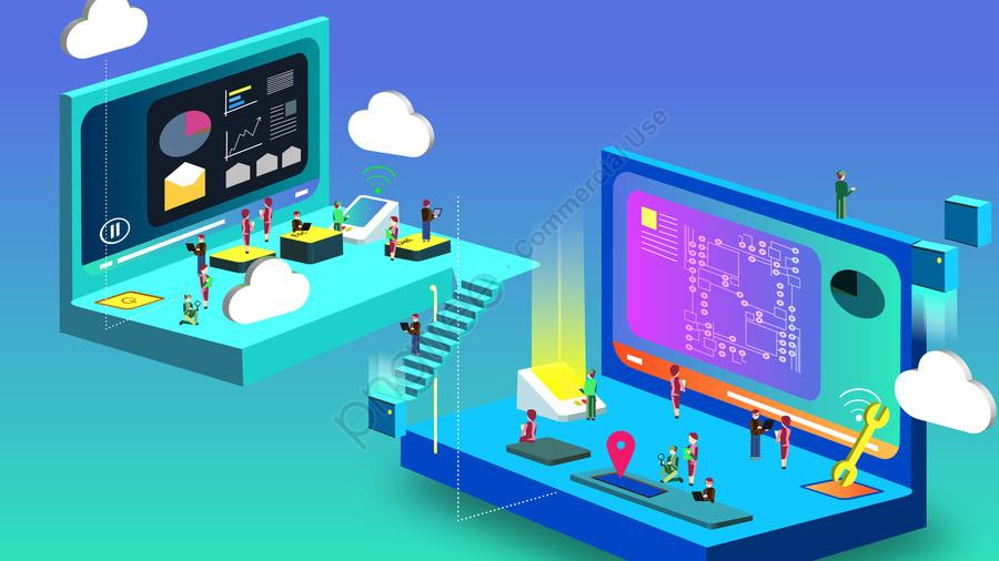 technology intelligent 2 5d concept, Technological Sense, Artificial Intelligence, Hand Painted llustration image