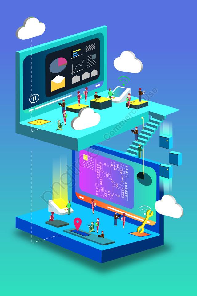 Technologie Intelligente 2 5d Concept, Sens Technologique, L'intelligence Artificielle, Peints à La Main llustration image