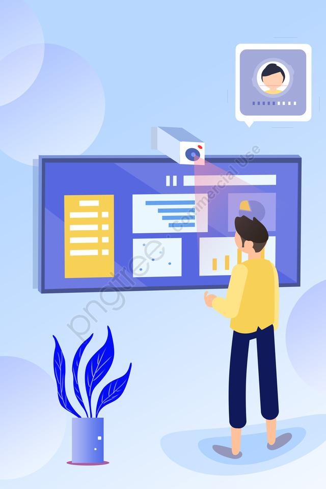 प्रौद्योगिकी बुद्धिमान जीवन के दृश्य, चित्रण, शुद्ध हाथ ड्राइंग, सरल llustration image