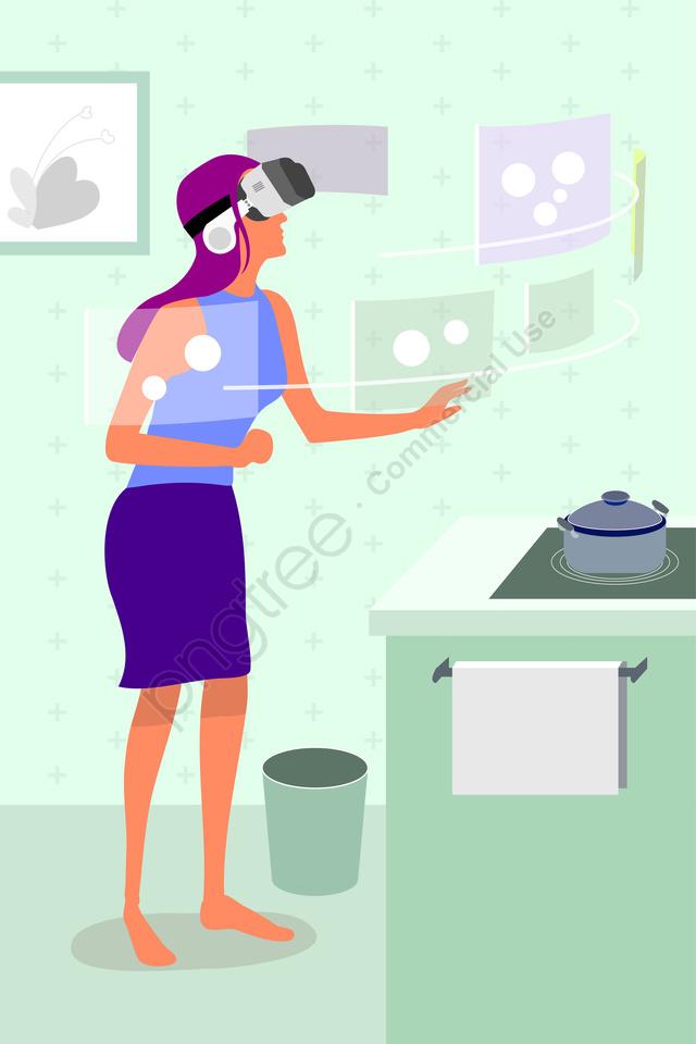 Technology Intelligent Vr Kitchen, Somatosensory, Screen, Wear llustration image