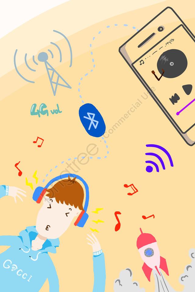 प्रौद्योगिकी मोबाइल फोन आइकन ब्लूटूथ, संगीत, हल्का रंग, बच्चे llustration image