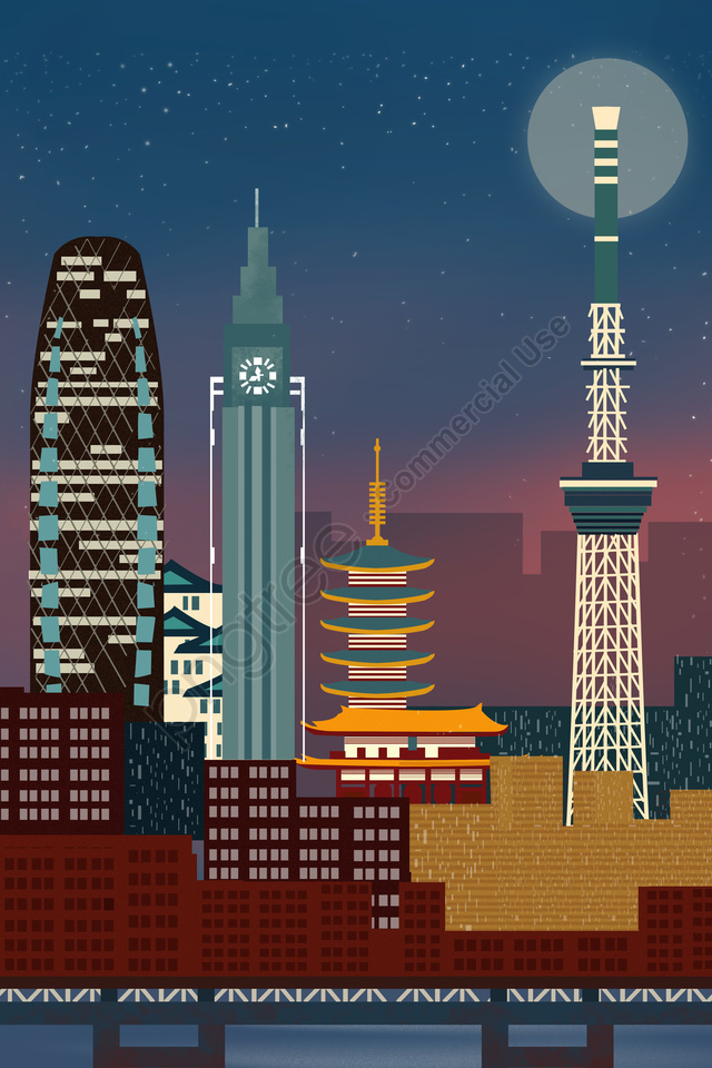 tokyo japan international city scenery architecture, Illustration, Tokyo, Japan llustration image