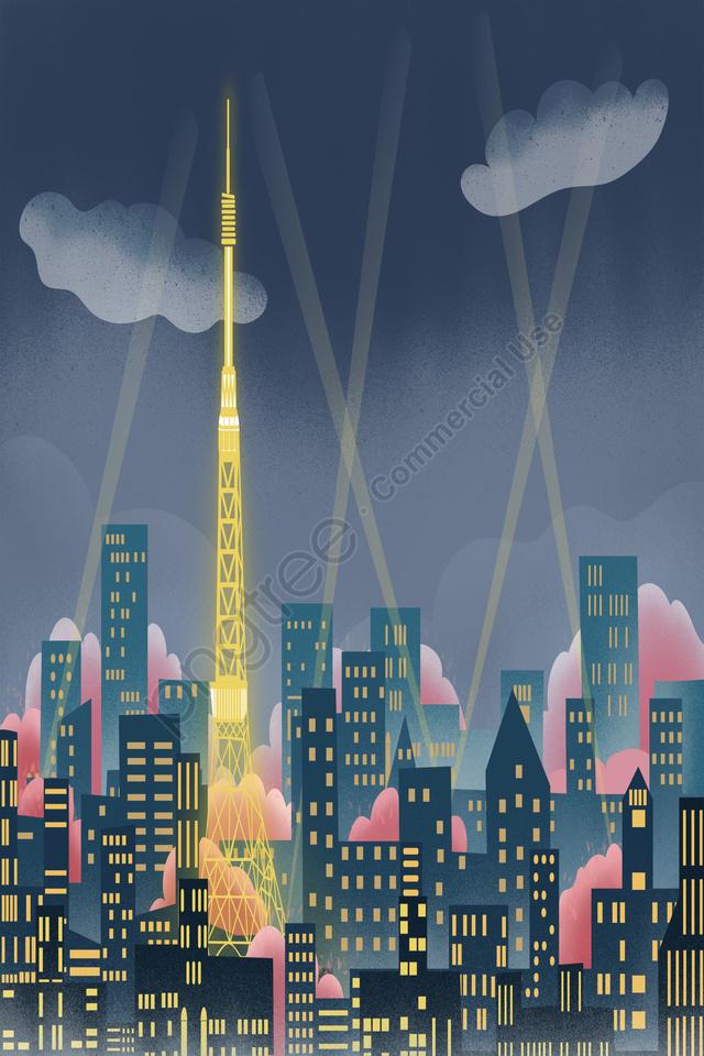 Tokyo Tháp Thành Phố Mốc Hoa Anh đào Tokyo, Đêm, Bí ẩn, Tòa Nhà llustration image