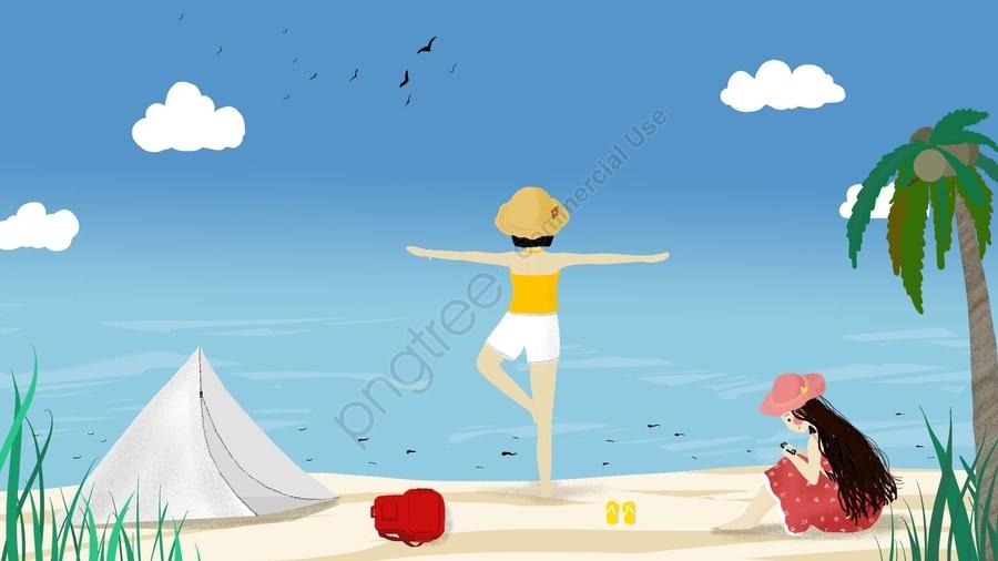 पर्यटन समुद्र तट नीला आकाश सफेद बादल, लड़की, तम्बू, एल्बम llustration image