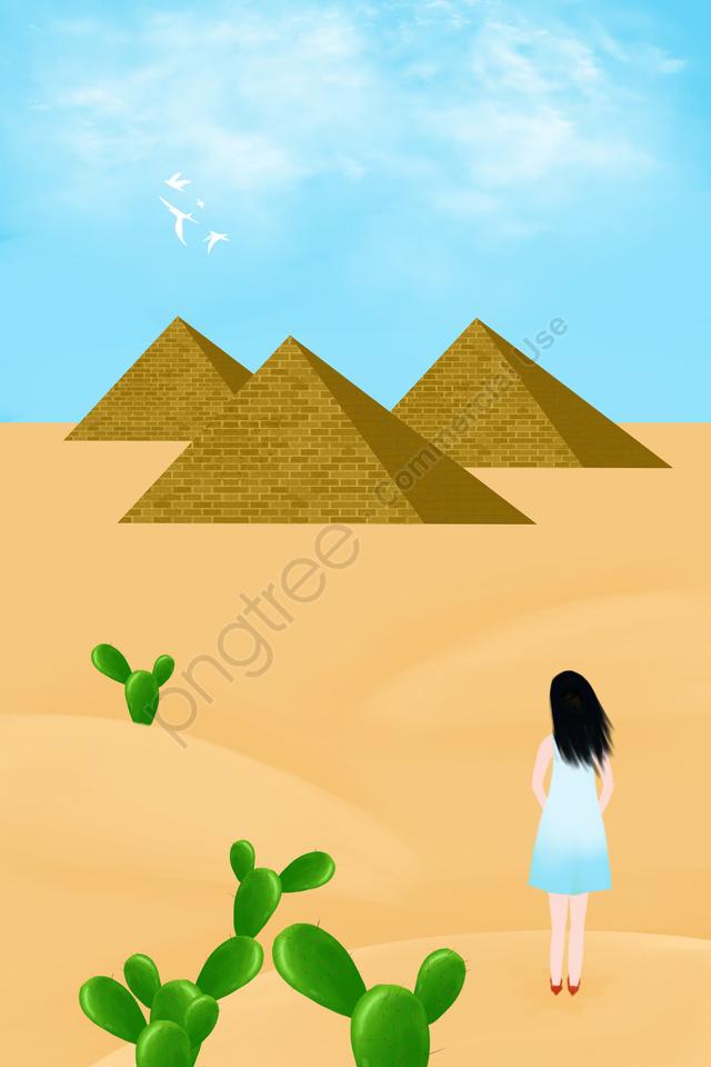 観光エジプトピラミッドサボテン, 砂漠, 純粋な手描き, イラスト llustration image