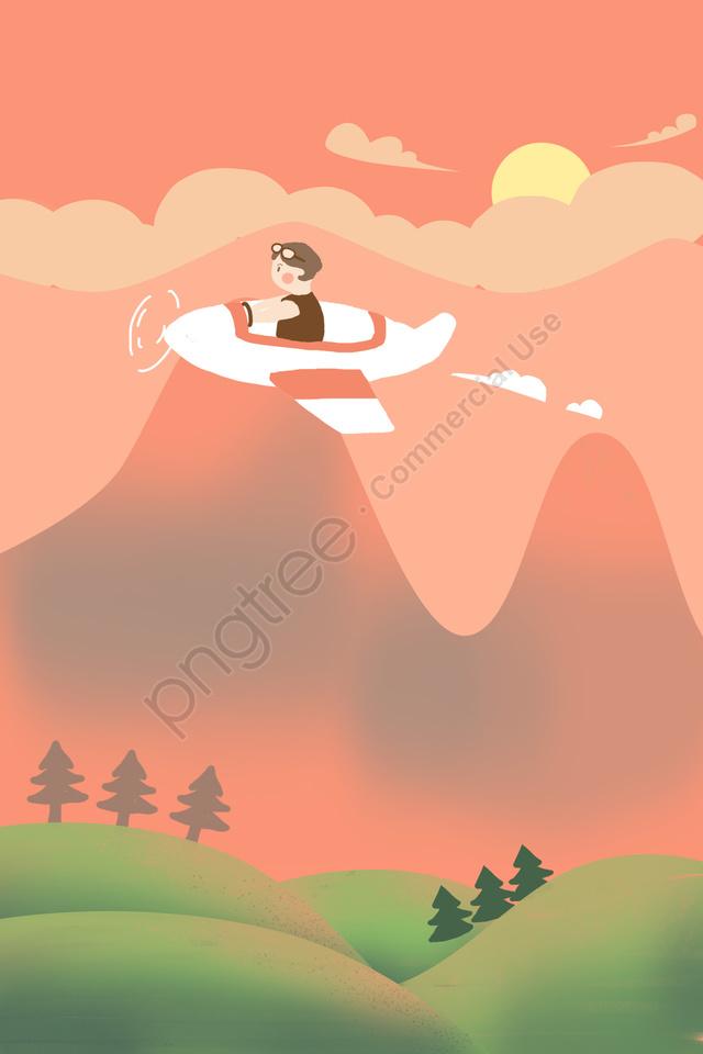 पर्यटन परिदृश्य उड़ान खेल, सजावट, चरित्र, पर्वत चोटी llustration image