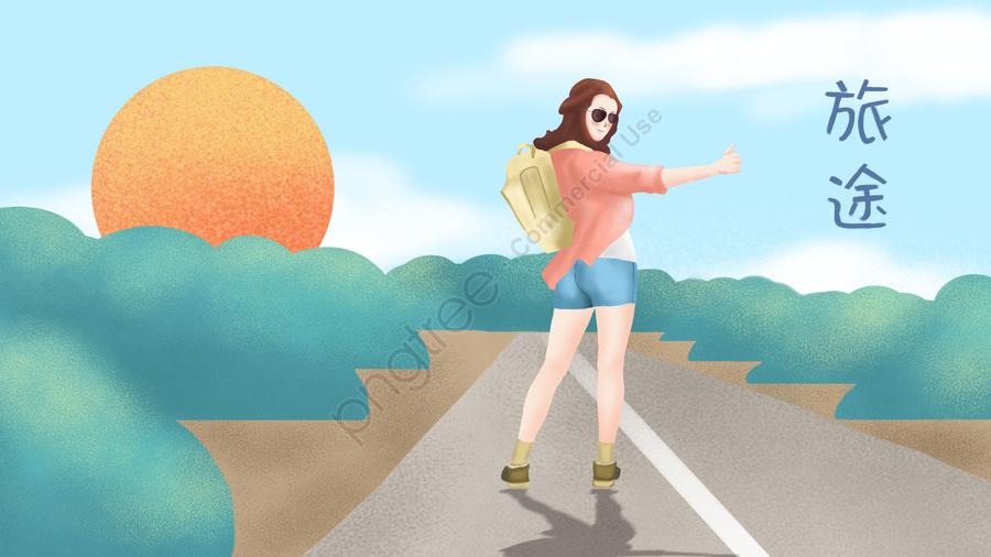 travel journey little girl sunglasses, Grass, Sun, Backpack llustration image