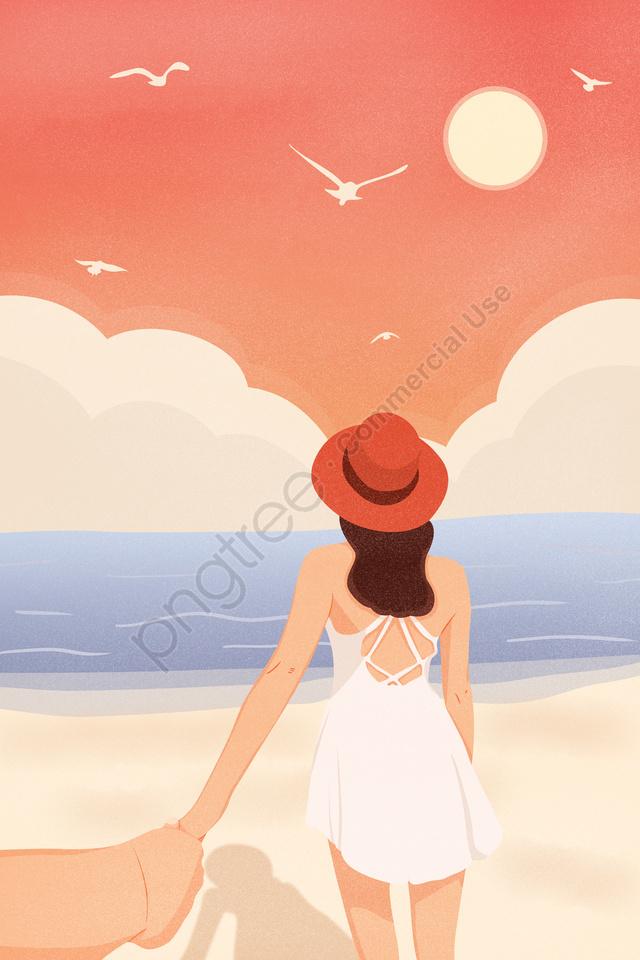 旅遊旅游海邊, 看著大海, 帶你去旅行, 日落 llustration image