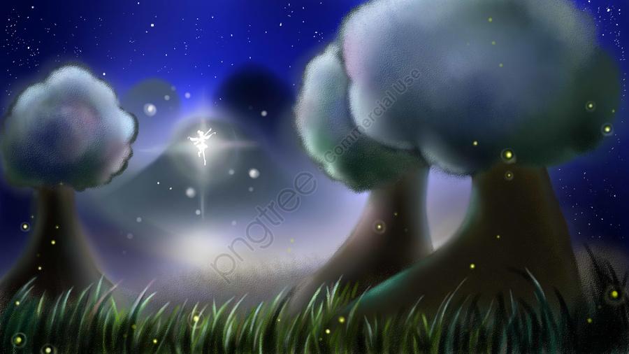 деревья ночное небо эльф звездный свет, звезда, пример, трава llustration image