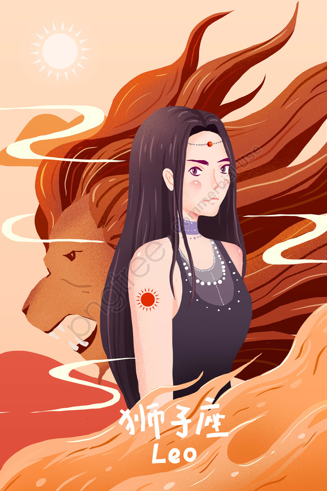 Twelve Constellations Constellation Fire Flame, Leo, Teenage Girl, Leo Anthropomorphism llustration image