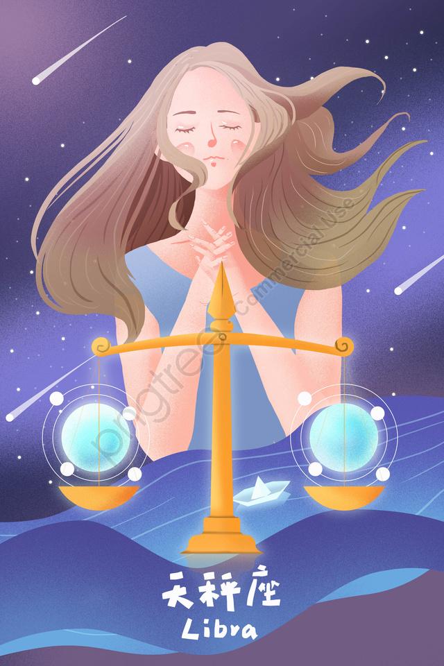 Twelve Constellations Constellation Libra Anthropomorphism Libra, Beautiful, Cartoon, Hand Painted llustration image