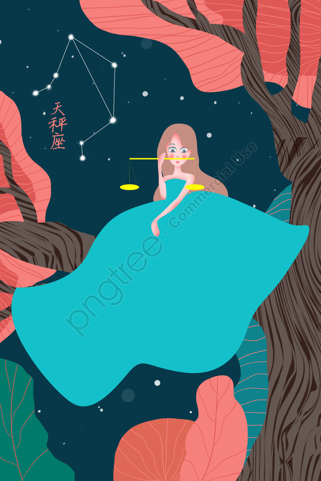 Twelve Constellations Constellation Libra Starry Sky, Girl, Blue, Tree llustration image