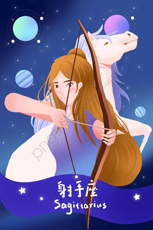 12 Chòm Sao Chòm Sao Sagittarius Anthropomorphism Sagittarius, Xinh đẹp., Hoạt Hình., Tươi llustration image