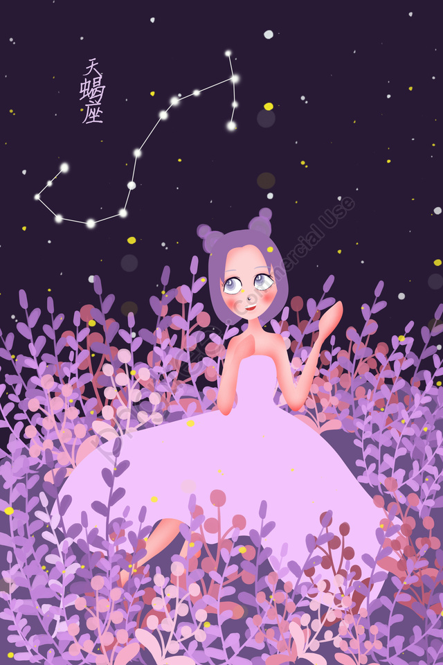 Twelve Constellations Constellation Scorpio Starry Sky, Girl, Purple, Flowers llustration image