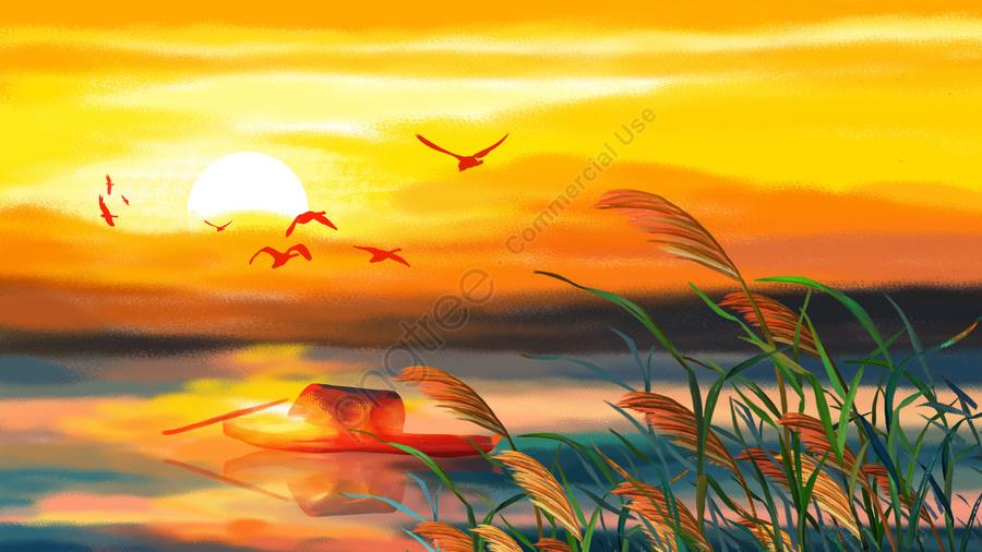 24太陽の条件秋の湖畔の夕焼け, 日没, 野生ガチョウ, リード llustration image