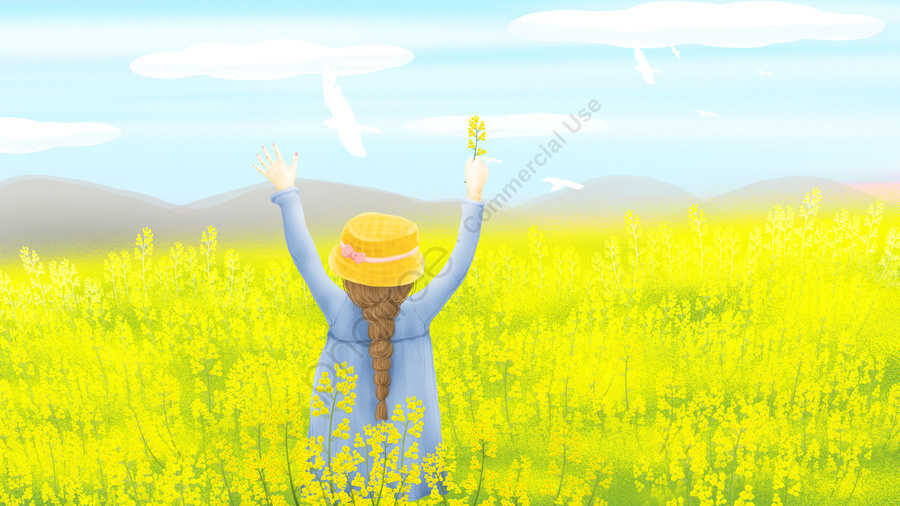 Twenty Four Solar Terms Beginning Of Spring Illustration Rape Flower, Girl, Beautiful, White Pigeon llustration image