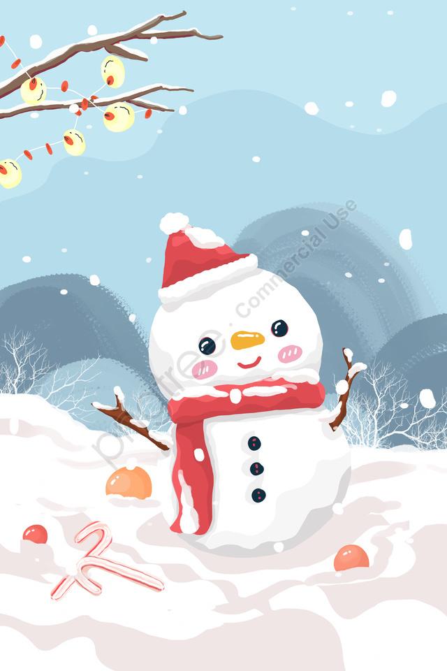 Twenty Four Solar Terms Heavy Snow Outdoor Snow Scene, Snowman, Beautiful, Winter llustration image