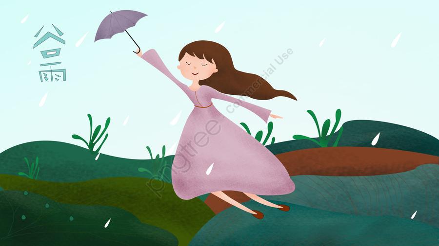 Umbrella Girl Green Grass Green Space, Raindrop, Sky, Hand Painted llustration image