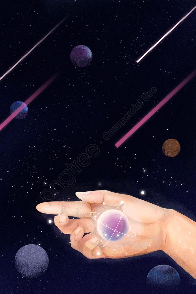 universe aerospace technology dream, Milky Way, Hand, Star llustration image