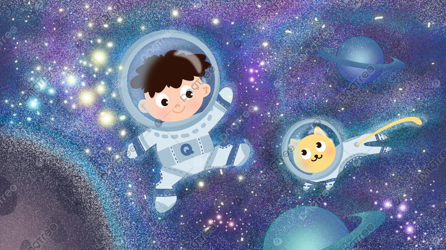 Universe Planet Explore Space, Technological Sense, Boy, Cat llustration image