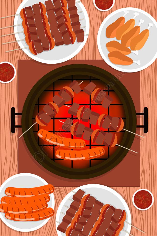 都市料理韓国バーベキュー料理焼き肉, 食物, 肉, 美味しい llustration image