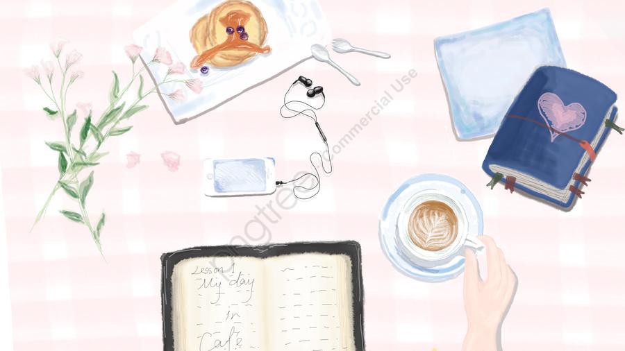 शहरी जीवन चित्रण दोपहर की चाय कॉफी, मफिन, किताबें, नोट llustration image