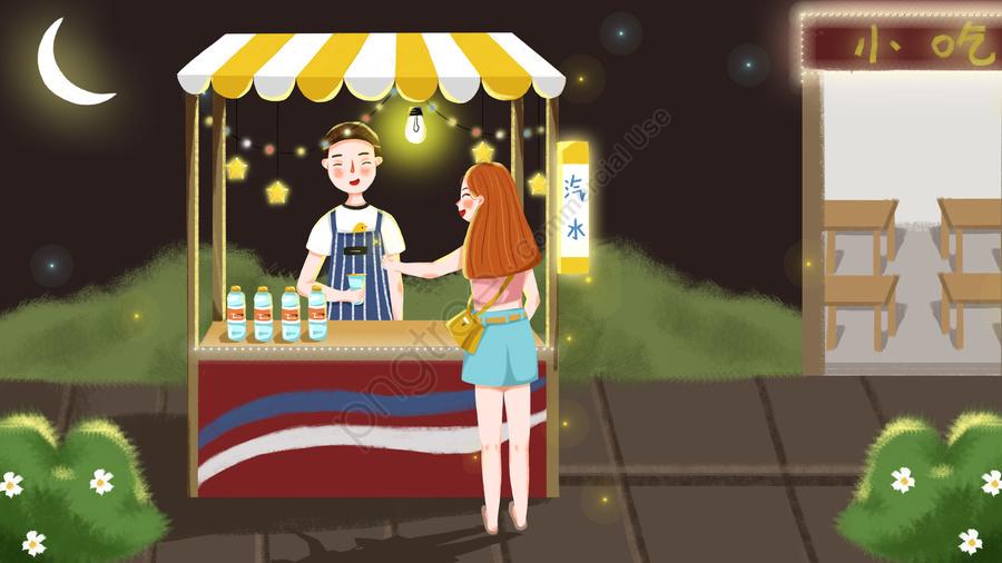 शहरी जीवन रात बाजार स्टार चरित्र, लड़की, लड़का, खरीदारी llustration image